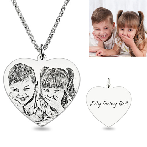 Etched Photo Necklace